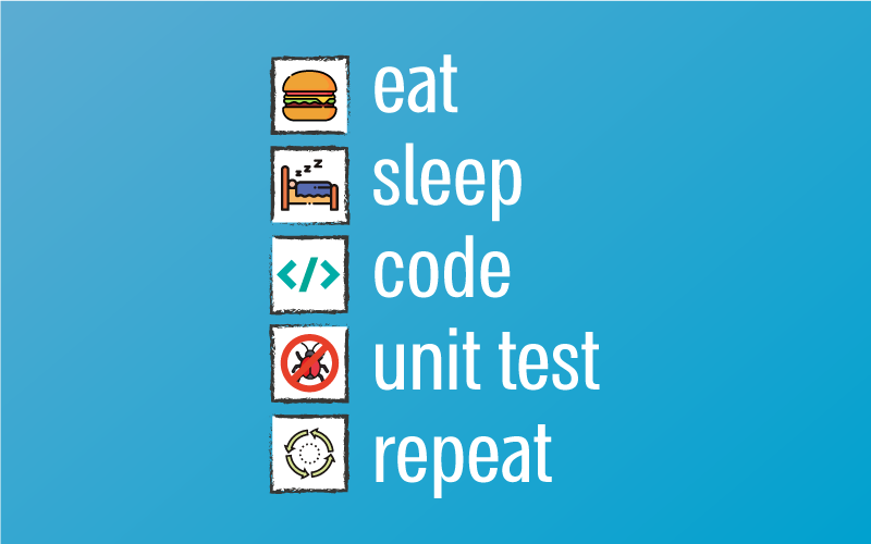 eat, sleep, code, repeat, unit test, unit testing, programming